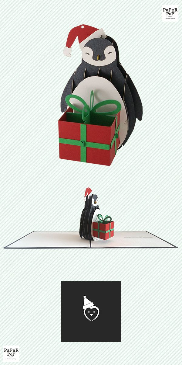Product Name : Holiday Penguin | Sentiment : Waddle you want for Christmas? | Greeting Card Features : A 3D pop-up card that is Always Eye Opening! High-end paper, customized embossing, vibrant colors, and designed with love in New York. Cut with state-of-the-art laser printers and hand assembled with care in China. This pop-up is detachable through our PopLock system and can be used as an ornament, keepsake, or display! | Price : $9.95 | Weight : 2 oz a card