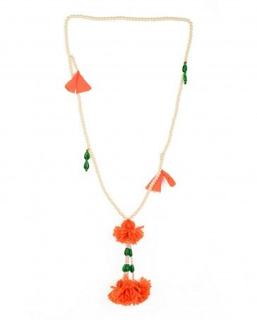 Pearl Necklace with Orange Pompom Pendants by Anupama Dayal Shop Now: http://bit.ly/anupamaad #Indianfashion #Colour #Jewellery #Multicolor #Luxury #Trends #Fashion #DesignerWear #India #Scarf #Indian #Designer #Color #ExclusivelyIn #Anupamaa #Floral #Multicolour #Pearl #Style #Print #Jewelery #Necklace