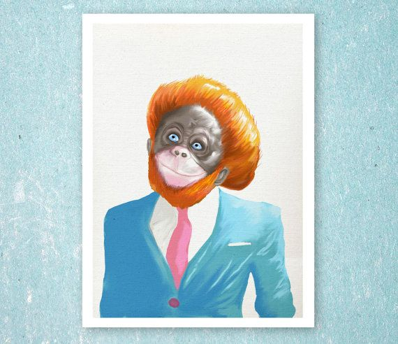 Printable Original Art  Ginger Monkey in a by SixDaysCreations