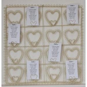 Vintage Style Cream Square Heart Wedding Table Plan