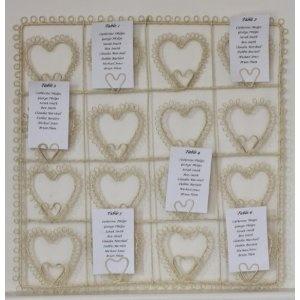 Vintage Style Cream Square Heart Wedding Table Plan