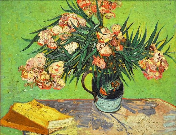 "Vincent van Gogh (Dutch, 1853-1890) – Oleanders, 1888 (Oil on canvas) – For Van Gogh, oleanders were joyous, life-affirming flowers that bloomed ""inexhaustibly"" and were always ""putting out strong new shoots."" In this painting of August 1888 the flowers fill a majolica jug that the artist used for other still lifes made in Arles… They are symbolically juxtaposed with Émile Zola's La joie de vivre… (Nemeth Gyorgy)"
