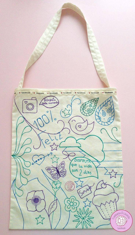 #Bolsa #Ilustración #Handmade #ToteBag #Costura #Feliz