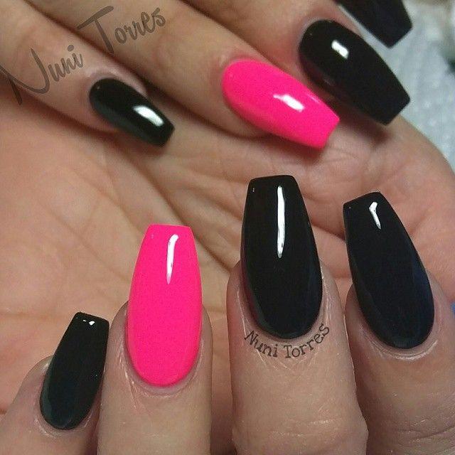nunis_nails. Pink Black NailsPink ... - Best 25+ Hot Pink Nails Ideas On Pinterest Summer Shellac Nails