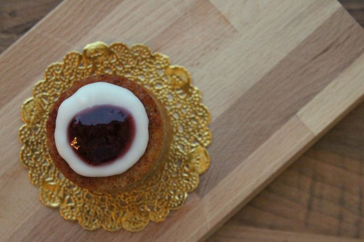 Runeberg torte - a sweet Finnish almond pastry with sugar icing and raspberry jam