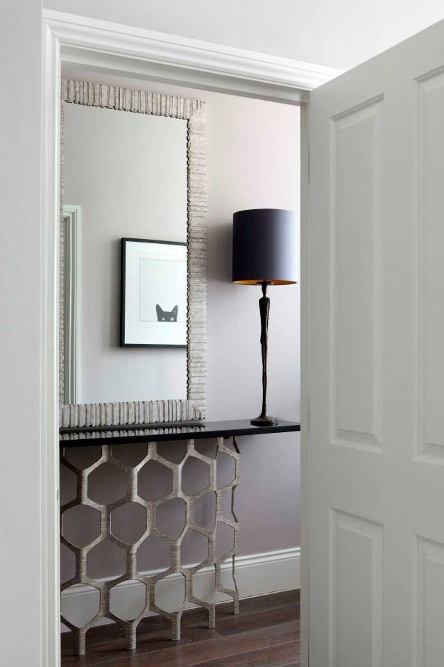 Honeycomb Console Table and Man Lamp by Porta Romana. Interiors by Susanna Thomas Interiors