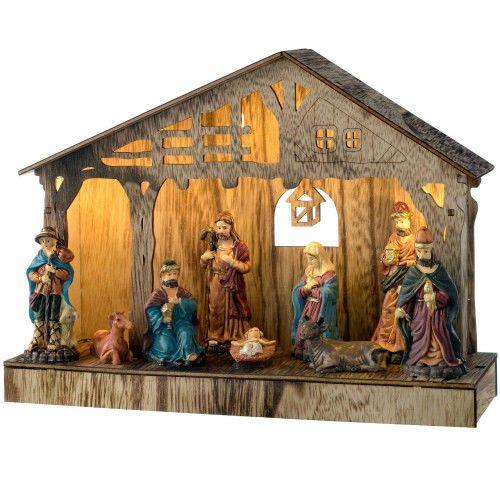 Pre-Lit Wooden Christmas Nativity Scene Decoration LED Light Up Xmas 26cm Decor #SmartDealsMarket