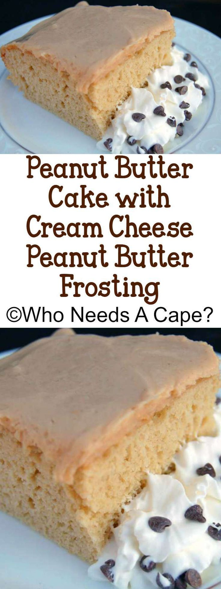 This Peanut Butter Cake with Cream Cheese Peanut Butter Frosting will soon be your new family favorite. Easy to make and oh so yummy!