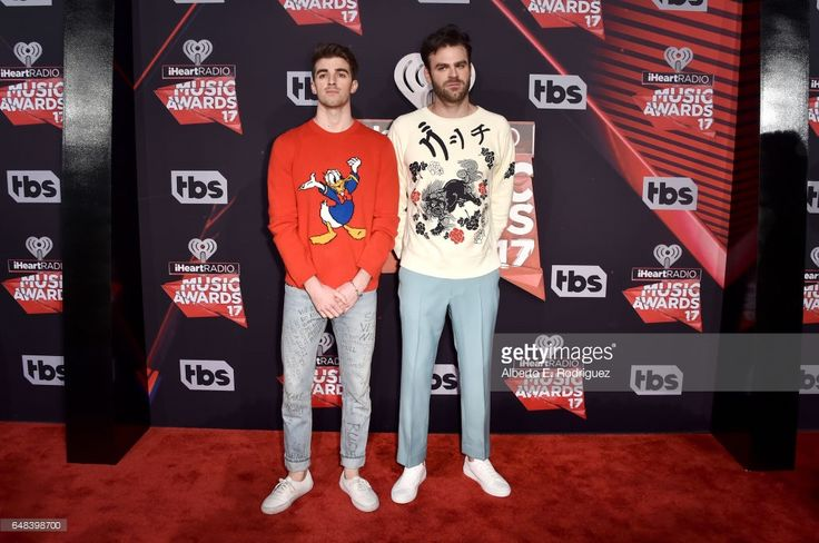 Recording artists Andrew Taggart (L) and Alex Pall of music group The Chainsmokers attend the 2017 iHeartRadio Music Awards which broadcast live on Turner's TBS, TNT, and truTV at The Forum on March 5, 2017 in Inglewood, California.
