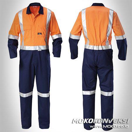 Safety Coverall - MOKO KONVEKSI. Jual Baju Lapangan Wearpack Coverall Warna Orange & Navy + Skotlet