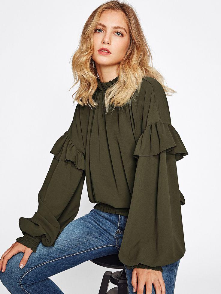Shop Frill Trim Bishop Sleeve Smocked Hem Blouse online. SheIn offers Frill Trim Bishop Sleeve Smocked Hem Blouse & more to fit your fashionable needs.
