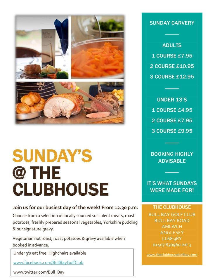 Sunday Carvery Price List