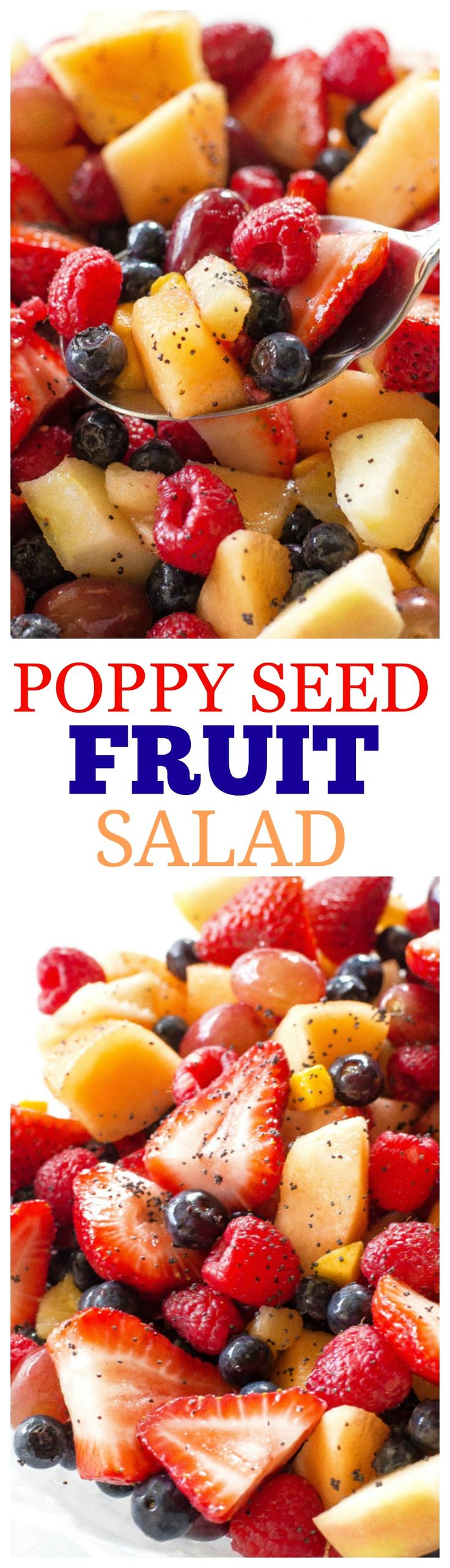 Poppy Seed Fruit Salad - sweet with a bright citrus flavor, honey,  and a little bit of ginger. the-girl-who-ate-everything.com