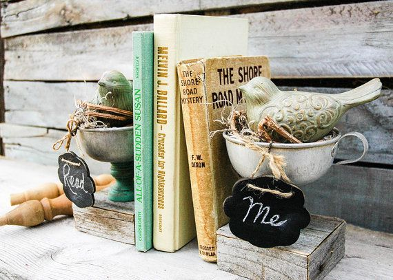 Handmade Rustic Teacup Bird Bookends with Mini by marieandlee