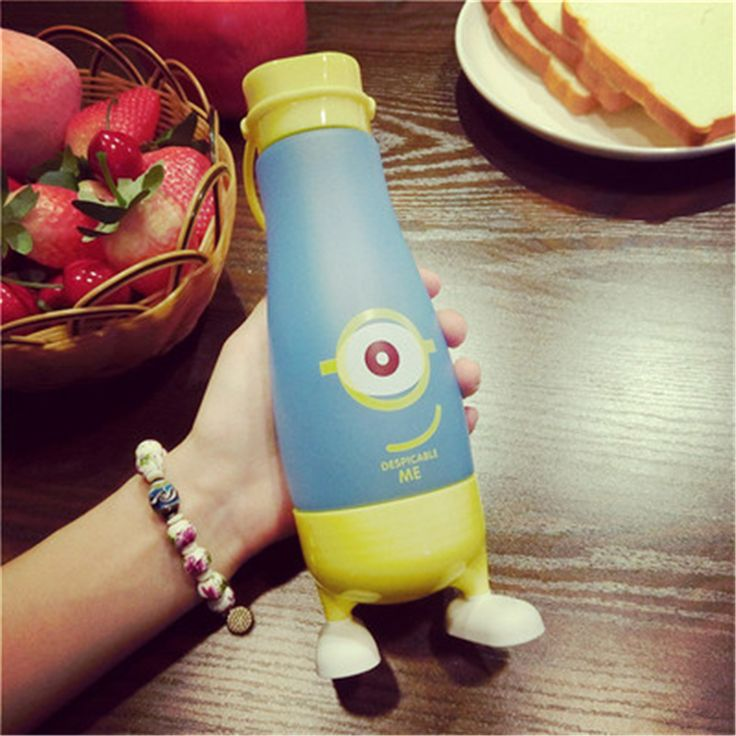 Personalized Kids Lemon Water Bottle Cartoon Botellas De Para Agua Water Sourse Children Plastic My Bottle With Cover QQB037