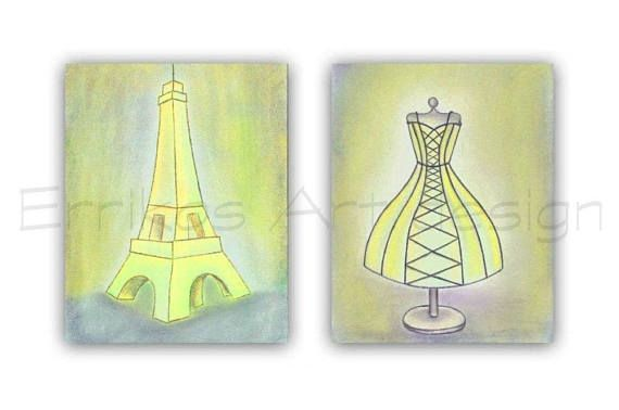 Girls room decor Paris Eiffel Tower Wall Art Shabby Dress