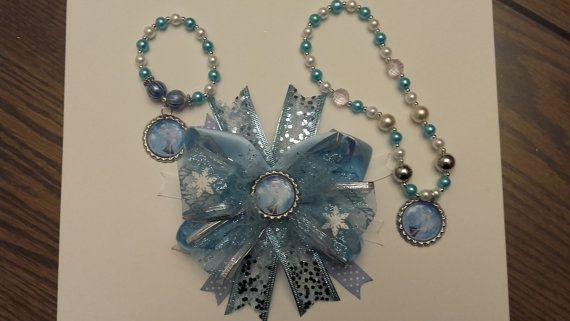 Frozen Necklace, Bracelet and Hair Bow Set, Birthday Set, Elsa Chunky Bead Necklace, Bracelet, Necklace and Matching Hair Bow Set