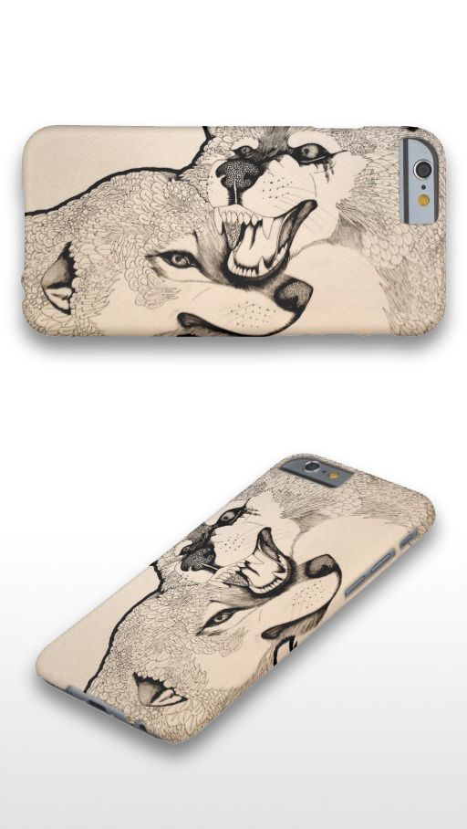 """""""Again"""" Black and white abstract wolf couple illustration iPhone 6 Case"""