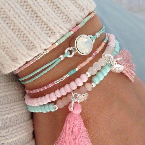 Mint15 armbanden set - mint, pink en zilver - available via www.capricci.nl | #armbandenset #armbanden #set #beads #bracelets #armparty #armcandy #zilver #tassel #swarovski #mint15 #capricci #capricci.nl