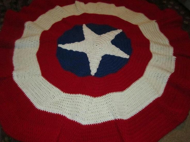 Free Crochet Pattern For Captain America Blanket : Must crochet captain America blanket gorros y tejidos ...