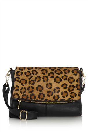 Leopard Print Leather Fold Over Across-The-Body Bag