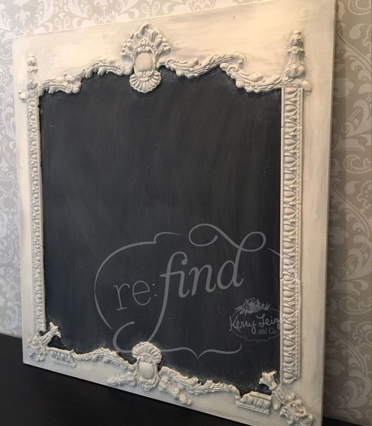 DIY Chalkboard, Frame and all <3 Frame Trim made with Durhams Water Putty the consistency of pancake batter and molds. Glue the pieces down with your favorite adhesive. This craftsman prefered a waterproof silicone caulk. <3