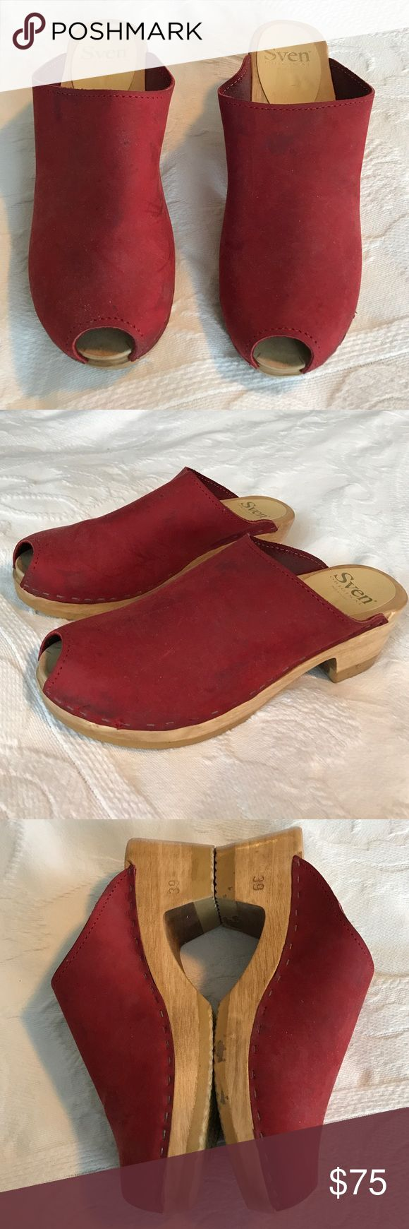Sven Clogs in Red Leather Beautiful red Sven leather clogs. Very good condition. Sven Shoes Mules & Clogs