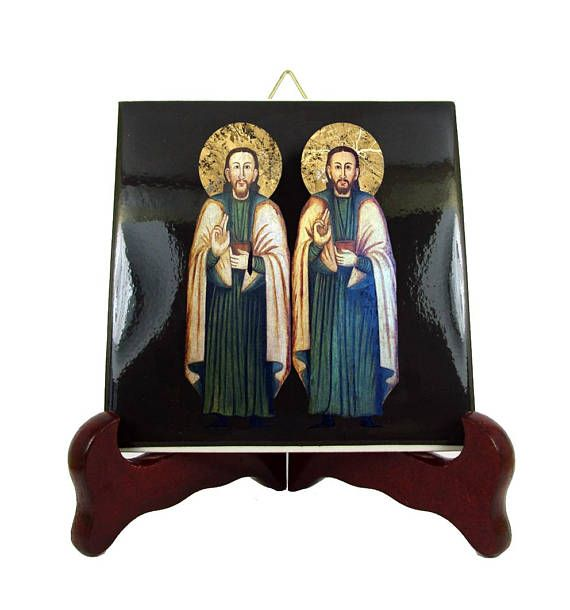 Today is the feast of Sts Cosmas and Damian, patron saints of surgeons and dentists. A new ceramic icon is available in my Etsy Store: >>> https://www.etsy.com/listing/546740150 <<<  100% handmade in Italy by @TerryTiles2014  #stoftheday #saintoftheday #liturgicalcalendar #faith #pray #prayforus #catholicchurch #church #catholic #etsyfinds