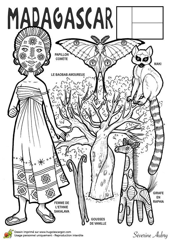 Coloriage Et Illustration Dun Pays Du Monde Madagascar Cest La 5e Plus Grande Ile De Locean Indien Elle Mesure 1580 Km Long Pour 580 Large