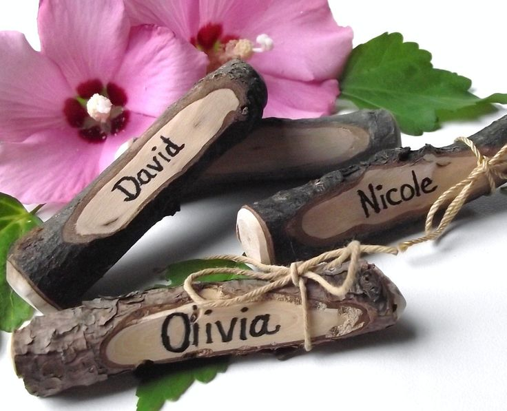 RESERVED - Twig Place Cards Handmade from Reclaimed Wood Tree Branches (Qty of 50) - Ideal for Rustic Weddings and Dinner Parties. $125.25, via Etsy.