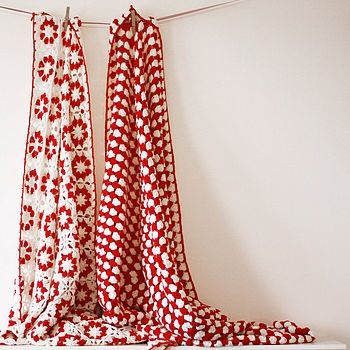 cool red and white crochet throws by rocket and bear