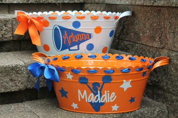 Personalized Scalloped CHEERLEADER Tub/Bucket  - Assorted Designs and Colors Available on Etsy, $31.00.  CUTE!!