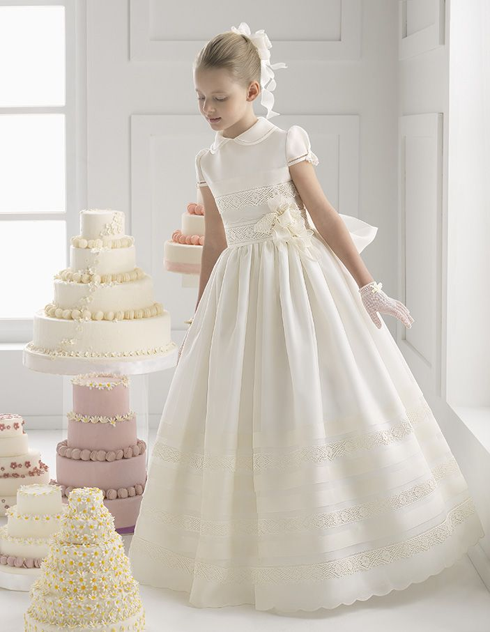 Lovely Ball Gown Lace Trimmed Silk Satin Communion Dress with Flower and Bow