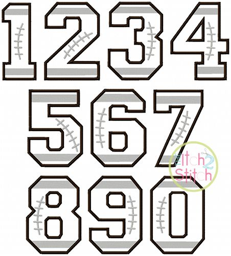 Football Varsity Applique FontNumbers