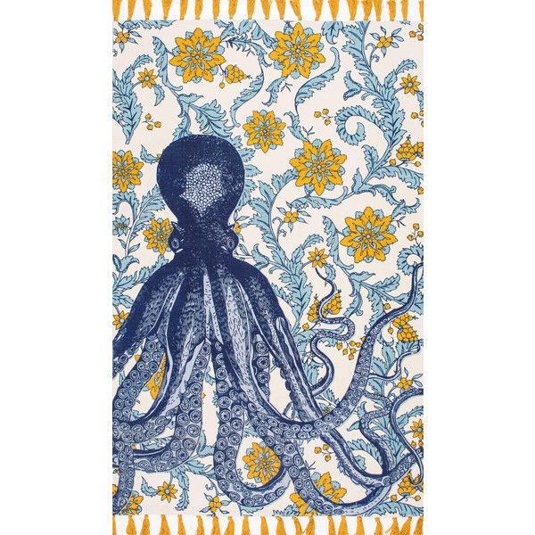 Thomas Paul Flatweave Cotton Octopus Rug design by Nuloom ($84) ❤ liked on Polyvore featuring home, rugs, cotton rugs, flatweave cotton rug, flatweave rugs, nuloom and flat woven cotton rug