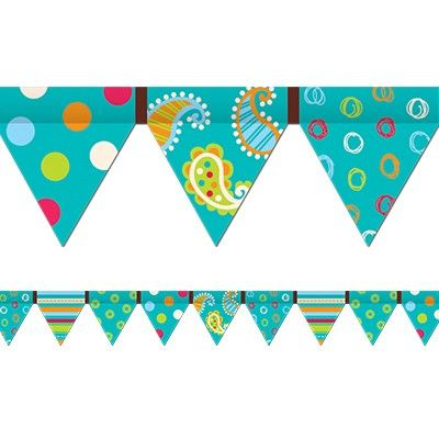 Dots on Turquoise Pennant | Classroom Decorations