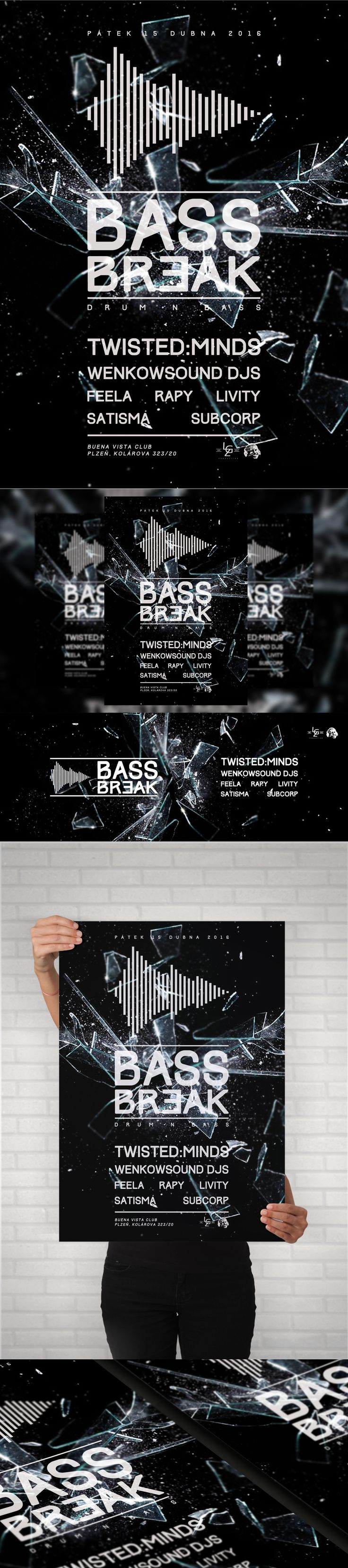 Bass Break Electronic music event - A4 Poster, Facebook event header and preview. #poster #posterdesign #fbheader #graphicdesign