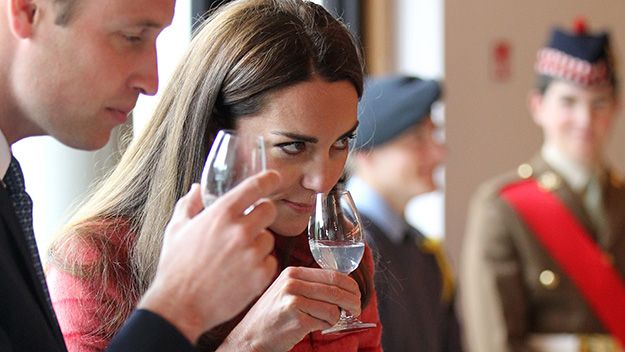 Pregnancy rumours have been well and truly quashed after the Duchess of Cambridge accepted a taste of whiskey during a tour at a distillery in Scotland.