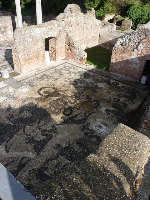 ancient Roman Harbour, Ostia Antica, Rome, province of Rome Lazio The Baths of Neptune