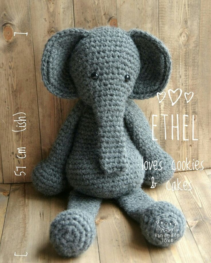 By @shelfiehugs on instagram - crochet elephant - supersize!! #edsanimals