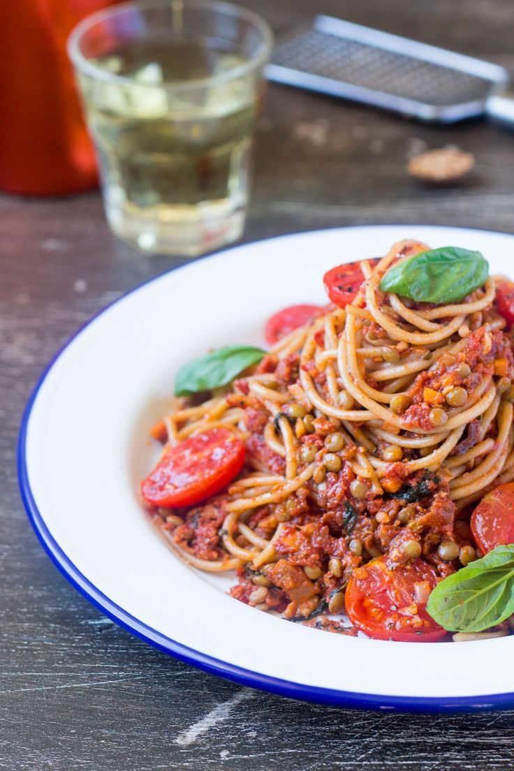 Vegan bolognese: noodles and lentils in a tomato, garlic, basil homemade sauce.
