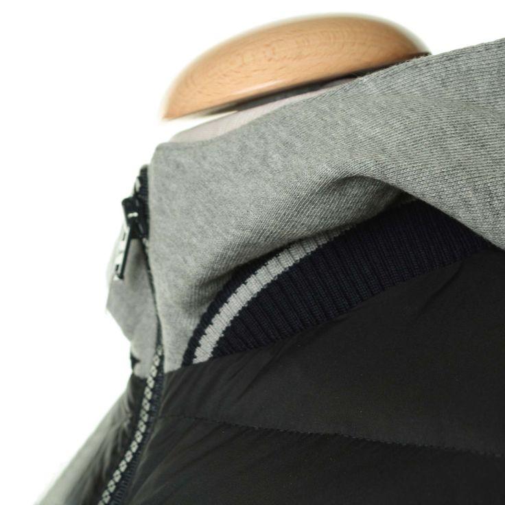 Herno - Bomber Felpa E Nylon Con Cappuccio - annameglio.com shop online #annameglio #shoponline #boutique #herno #bomber #outwear #teenagers #abbigliamento