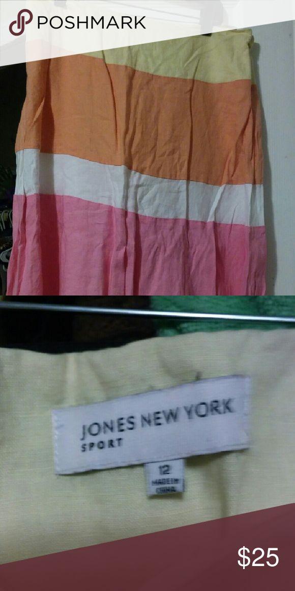 Skirt Yellow, pink and white linen skirt Jones New York Skirts Midi