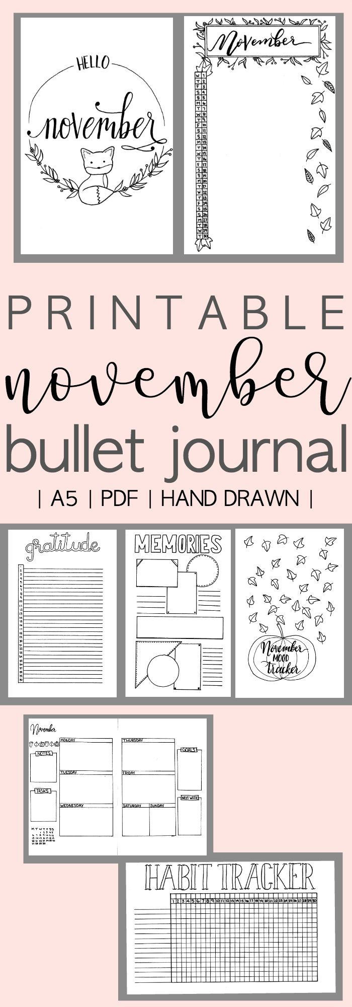 Printable Bullet Journal Monthly Setup for November 2017