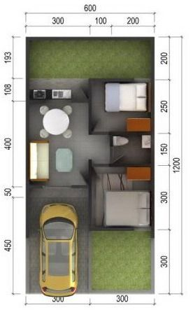 denah rumah minimalis modern tipe 36