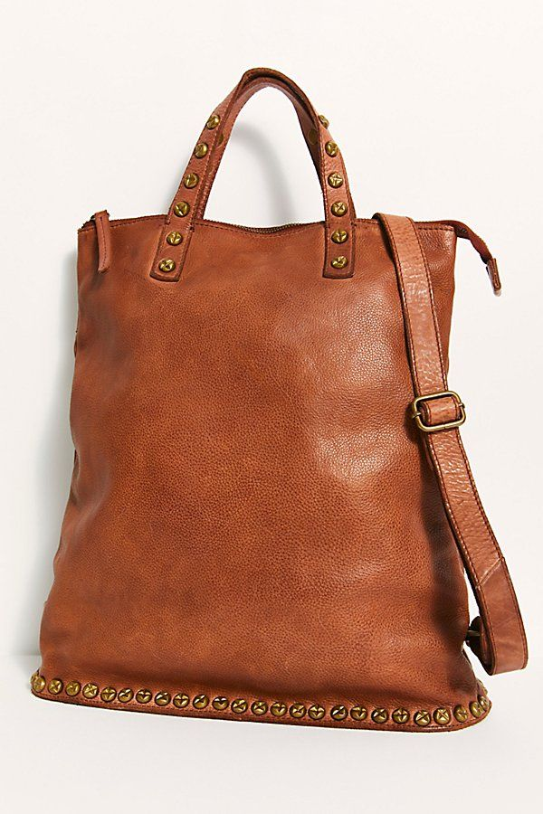 Ellie Leather Studded Backpack In 2021 Studded Backpack Brown Leather Purses Minimalist Bag