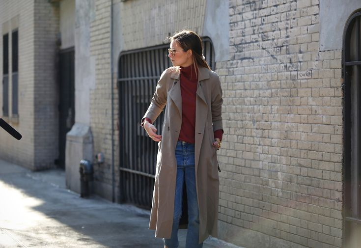 Featured on @weworewhat, the TSE Cashmere Herringbone Stripes Turtleneck gets accented with a classic trench for a simple, chic look.