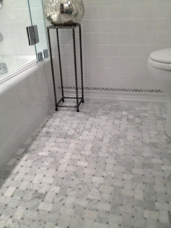 Stunning Bathroom Floor Composed Of Marble Basketweave Tiles And