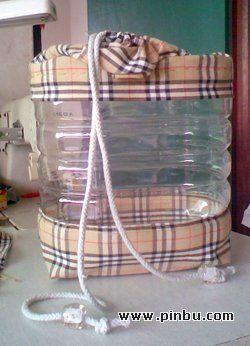 bouteille-sac - nouveauté : la base recouverte de tissu (c'est plus joli que seulement au-dessus)