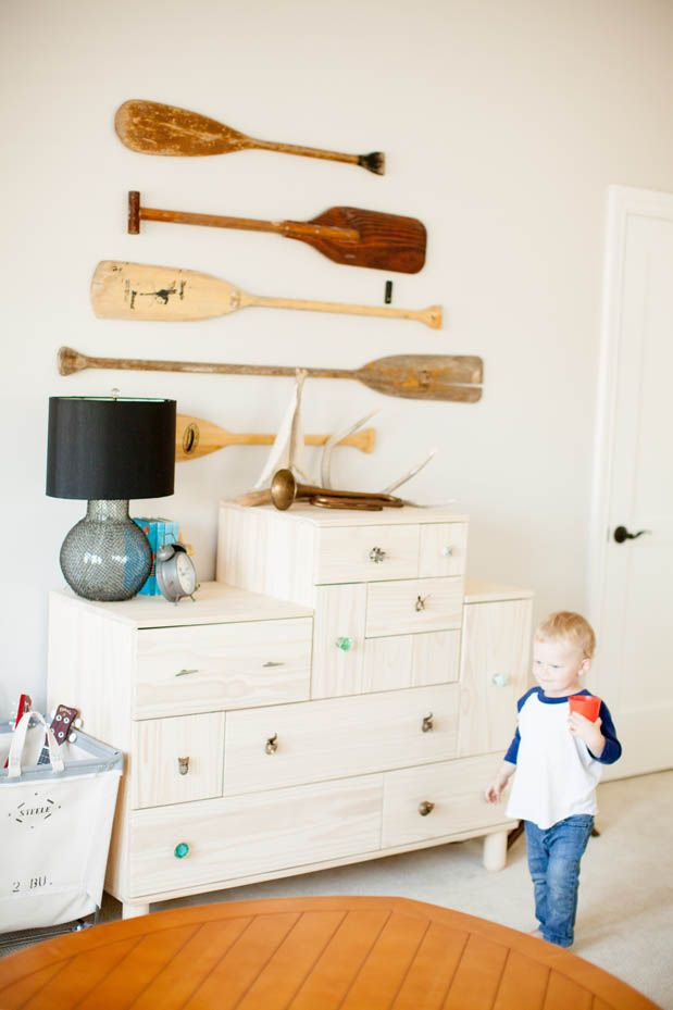 Oar decor and mixed drawer pulls